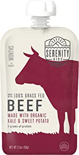 Serenity Kids Baby Food, Grass Fed Beef with Organic Kale and Sweet Potatoes, For 6+ Months, 3.5 Ounce Pouch (12 Count)