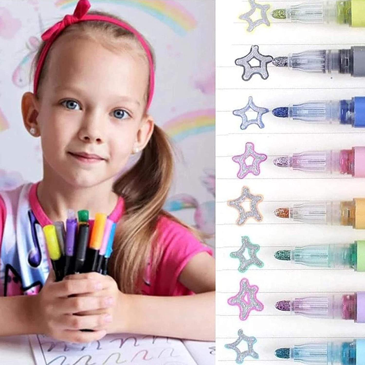 Double Line Outline Pen Markers,Magic Shimmer Paint Pens,12 Colors Marker Pen for Highlight for Drawing//Painting//Posters//DIY Art Crafts Doodle Dazzle Markers