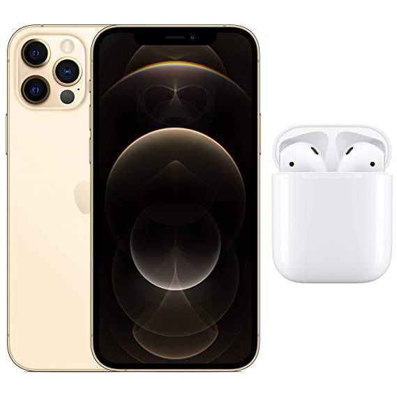 New Apple iPhone 12 Pro (128GB) - Gold with AirPods with Charging Case