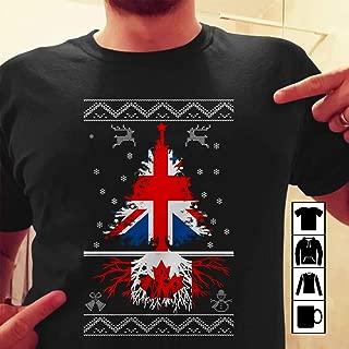 England Christmas Tree With Canada Roots T Shirt Long Sleeve Sweatshirt Hoodie T-Shirt Long Sleeve Sweatshirt Hoodie for Men and Women