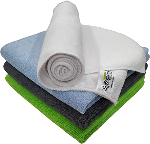 SOFTSPUN Microfiber Cleaning Cloths, 4pcs 40x40cms 340GSM Multi-Colour! Highly Absorbent, Lint and Streak Free, Multi -Purpose Wash Cloth for Kitchen, Car, Window, Stainless Steel, silverware. product image