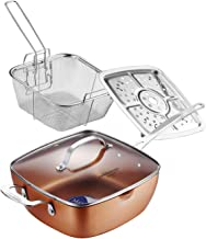 AMERICOOK 4PC, 9.5inch Copper Nonstick Deep Fry Pan with Stainless Steel Chip Frying Basket, Steamer Rack and Glass Lid, Induction Nonstick Frying Pan For Oven, Roast, Bake, Grill, Steam and Braise