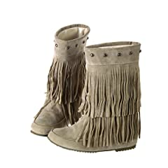 917a50abe0471 Fashion Heel Womens Flat Heel Round Toe Mid Calf Boot with Fringe ...