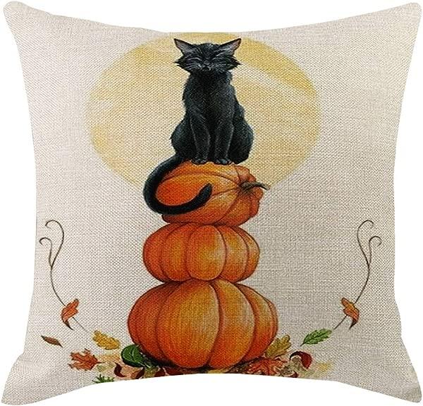 ZFK Home Throw Pillow Cover 18x18 Inches Vintage Black Happy Halloween Spider Web Crow Black Bird Linen Cushion Cover Throw Pillow Case Sofa Decorative