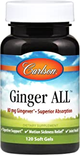 Carlson - Ginger All, 80 mg Gingever - Superior Absorption, Digestive Support, Motion Sickness Relief & Joint Health, 120 Soft gels