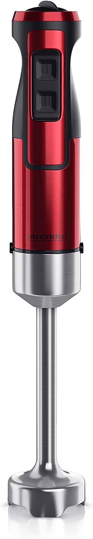 Arendo - Batidora de mano de 1000 vatios de acero inoxidable - Cuchilla de cuatro aspas - Batidora - Batidora - Control de velocidad continuo - Botón turbo - Pie extraíble - Certificado GS - Rojo rubí