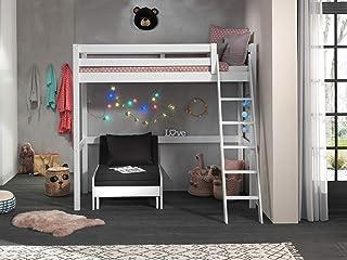 Vipack Lit mezzanine avec surface de couchage 90 x 200 cm avec fauteuil en pin massif laqué blanc.