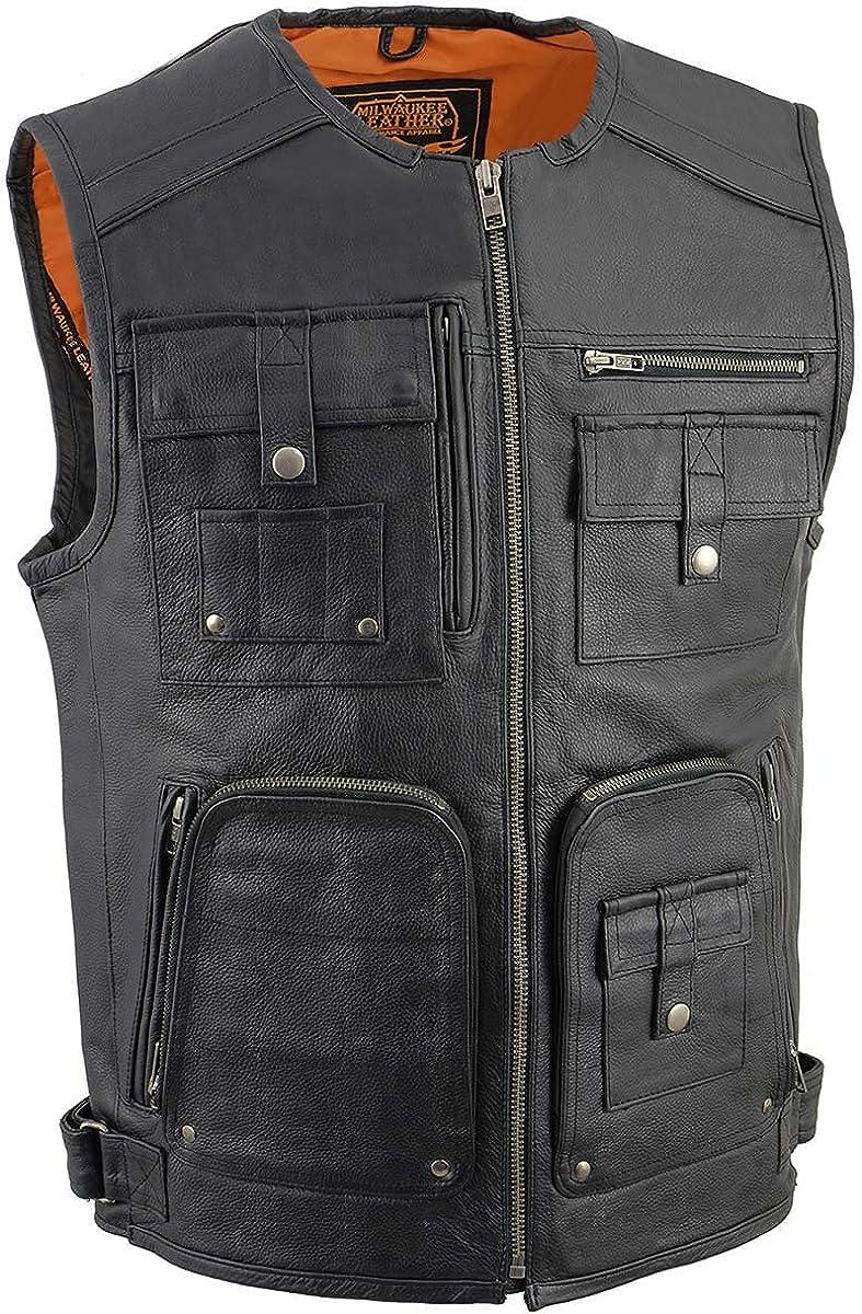 Milwaukee Leather MLM3580 Men's Black Leather Zipper Front Super Utility Multi Pocket Vest