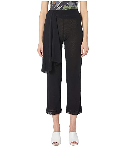 FUZZI Solid Tulle Black Wrap Pants