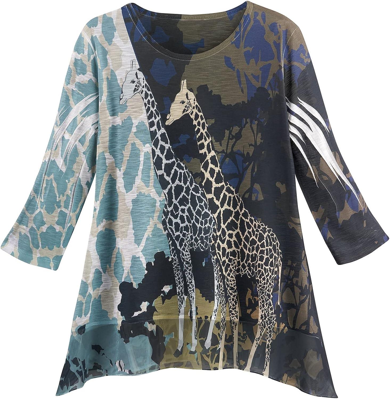 JESS JANE Women's 売店 Giraffe 流行 Tunic Top Print Sleeves 3 Animal 4