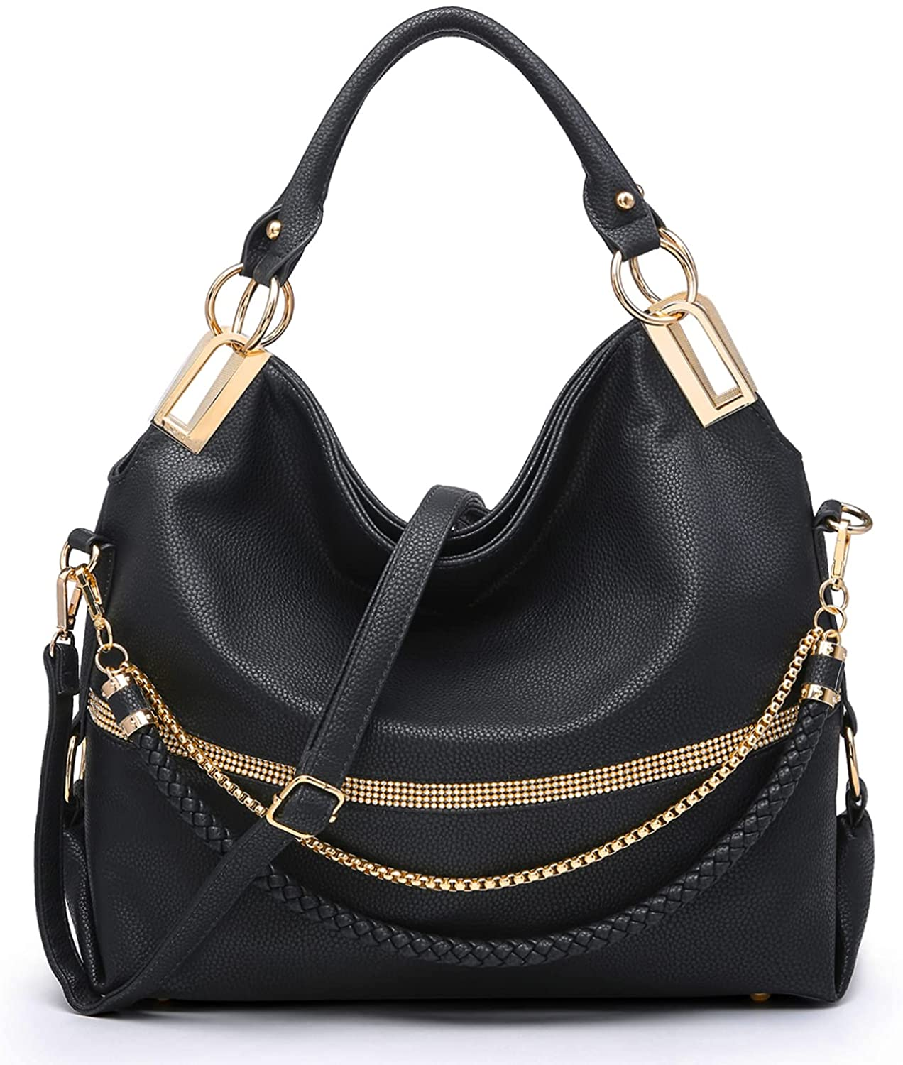 Dasein Hobo Bags for Women Soft Faux Leather Purses and Handbags Large Hobo Purse Shoulder Bag with Rhinestones