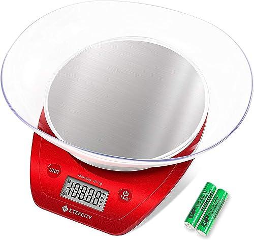 Etekcity Balance de Cuisine Electronique de Haute Précision en Acier Inoxydable, Multi-Fonction, 5kg/11lb, Bol Amovib...