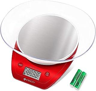 Etekcity Balance de Cuisine Electronique de Haute Précision en Acier Inoxydable, Multi-Fonction, 5kg/11lb, Bol Amovible, M...