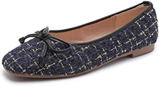 DRV5G7F Large Size Bow Ballet Flats Autumn Spring Women Flats Shoes Square Toe Shoes Womens Shoes Size 41 42 43