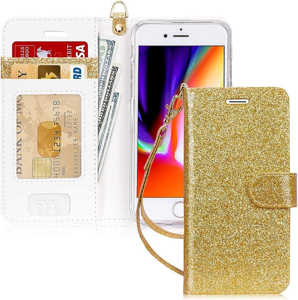 Fyy custodia per iphone 7/8/se 2020 portafoglio in pelle sintetica FYY-IT-H-326-iPhone-7-Bling-G