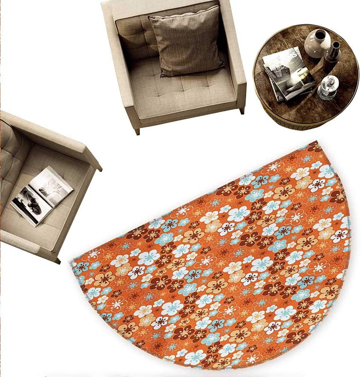 orange Semicircular Cushion Cute Old Fashioned Doodle Flora Abstract Blooming Meadow in Summer Theme Entry Door Mat H 70.8  xD 106.3  Sky bluee orange Brown