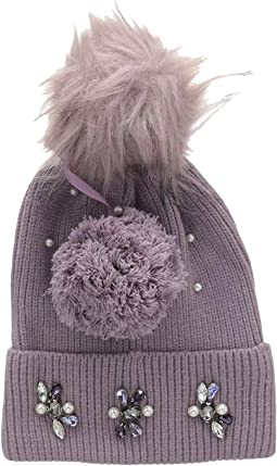 Embellished Cuff Hat with Interchangeable Poms