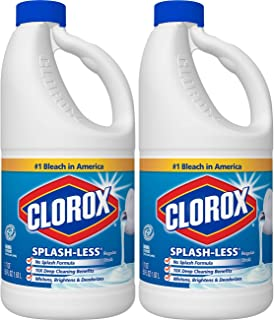 Clorox Splash-Less Bleach, Regular, 2 Pack of 55 fl oz each/ 110 Ounces Total