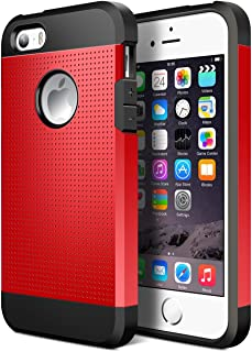 Geminiman iPhone 5S Case,iPhone SE Case, Hybrid Dual Layer Slim Case Flexible TPU Bumper & Hard PC Back Rugged Premium Shockproof Protective Durable Cover for iPhone 5S/SE/5(Red)