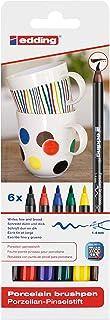 edding 4200 Porcelain Brush Pen - Black, Red, Blue, Green, Yellow, Brown - 6 Pens - Brush Tip 1-4 mm - Felt-Tip Pen for Pa...
