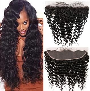 QTHAIR 12A Ear To Ear 13x4 Deep Wave Frontal Closure Brazilian Hair(18