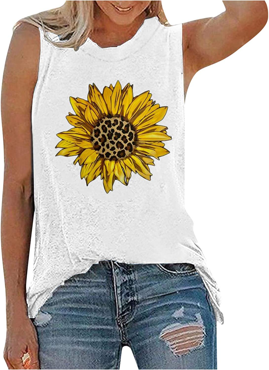 AODONG Tank Tops for Women, Womens Casual Sleeveless Summer Vest Tshirt 4th of July Workout Blouse Tank Top Tunic Tee