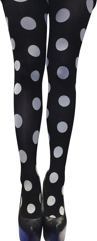 Sock Snob Opaque Big Spot Dot Designer Tights One size 4-10 us Black/white