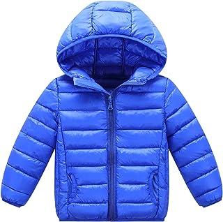 Happy Cherry Boys Hooded Down Puffer Coat Windproof Lightweight Zipper Jacket Winter Warm Outerwear Dark Blue