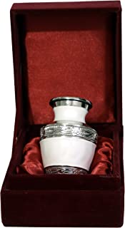 THE ASCENT MEMORIAL Pearl White Small Keepsake Urns - Mini Cremation Memorial Urns with Gift Box, Velvet Carry Bag and Funnel - Funeral Cremation Urns Small for Human Ashes, Metal Brass, Pearl White, Small S1