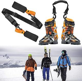 Ski Carrier Strap and Ski Boot Strap, Ski Straps for Carrying, Ski Gear with Anti-Slip Shoulder Pads, Ski Strap Adjustable Shoulder Carrier for Men, Women and Kids