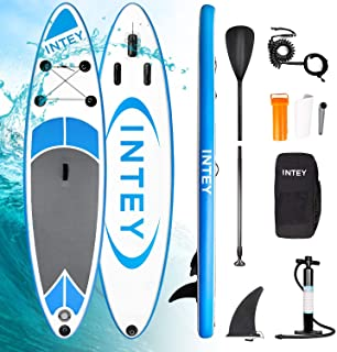 comprar comparacion INTEY Tabla Paddle Surf Hinchable 305×76×15cm, Sup Paddle Remo Ajustable, Tabla Stand Up Paddle Board, Bomba de Doble, Seg...