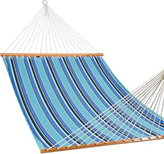 Lazy Daze Hammocks Sunbrella Fabric Hammocks with Spread Bar and Handcrafted Polyester Rope for Two Person, All Weather and Fade Resistant, 450 lbs Capacity, Dolce Oasis