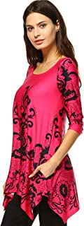 White Mark Women's ''Yanette'' Paisley Floral Print Tunic Top