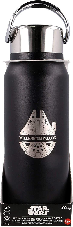 Star Wars | Botella de Agua Termo Reutilizable de Acero Inoxidable |Botella de Agua aislada al vacío con diseño de Doble Pared para Mantener la Temperatura - Tapa con asa - Libre BPA - 505 ml