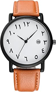 Arab Numbers Scales Men Watch Black Leather Watch with Calender