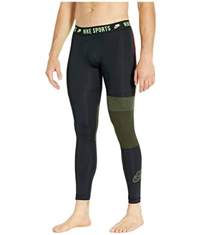 Nike Pro 3/4 Tights (Black/Sequoia/Electric Green) Men