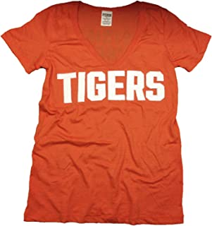 Pink Detroit Tigers V-Neck T-Shirt Orange Bling