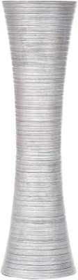 Leewadee Tall Big Floor Standing Vase for Home Decor, 10x36 inches, Wood, Silver-Coloured