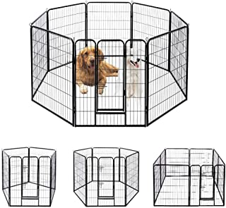 VIVOHOME Heavy Duty Foldable Metal Indoor Outdoor Exercise Pet Fence Barrier Playpen Kennel for Dogs Cats