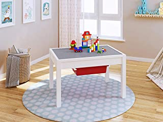UTEX 2-in 1 Kids Large Table with Storage for Older Kids, Construction Table for Kids,Boys,Girls, White