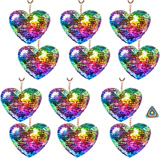 Heart Sequin Key Chain Flip Sequins Key Ring Charm - 12 Pack and 1 Triangle Eraser - Party Favors, Prizes, Valentine's Day, Easter Baskets, Stocking Stuffers