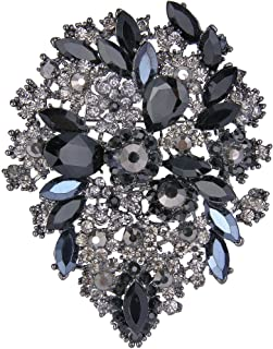 EVER FAITH Women's Austrian Crystal Vintage Style Flower Leaf Cluster Brooch Pendant