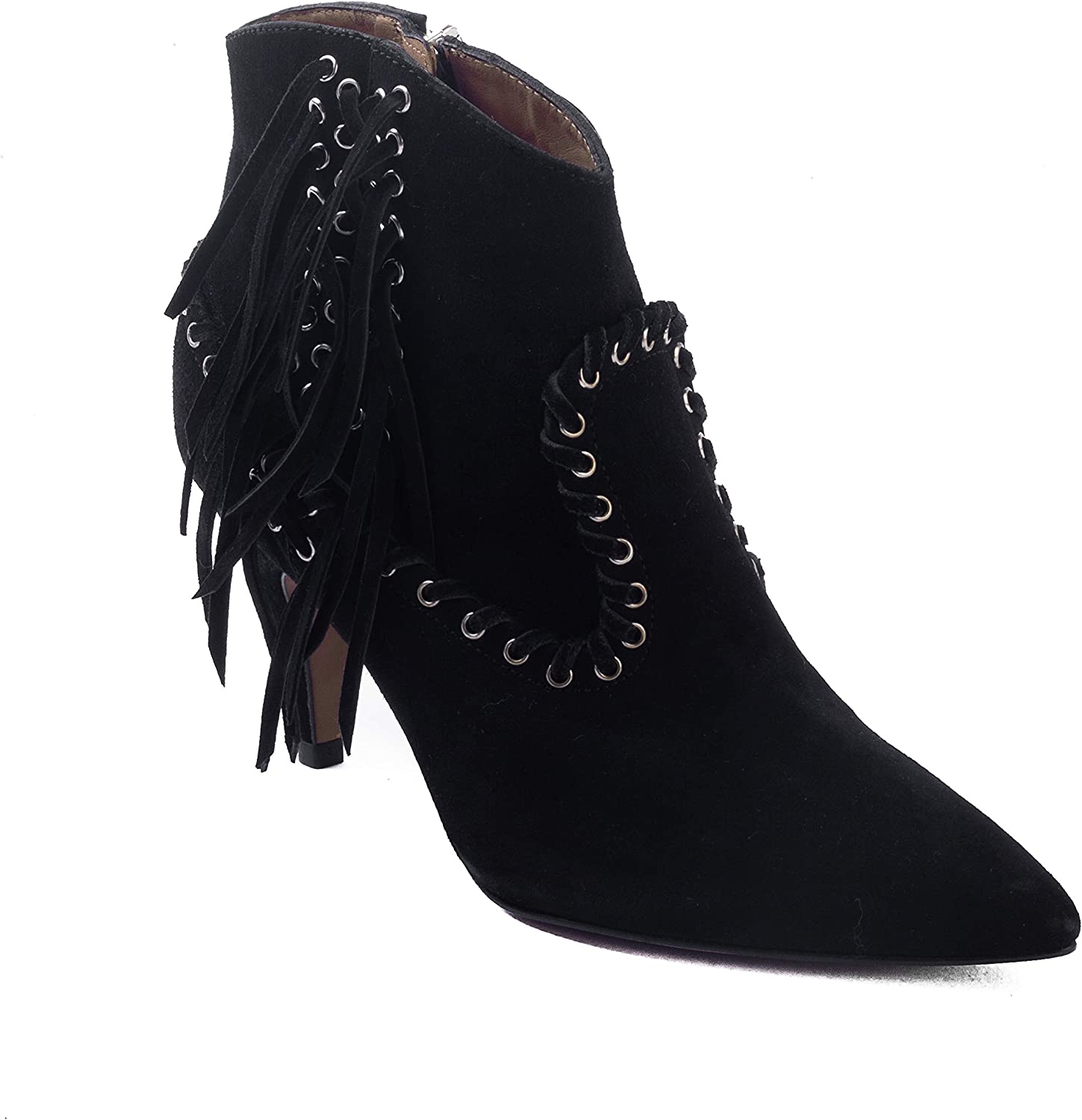 Iro Women's Nensy Suede Fringed Leather Booties shoes Black