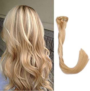 Clip in Human Hair Extensions 70g 7pcs Silky Straight Highlight Blonde Remy Human Hair Extension 22 Inch 18/613 Beige Blonde to Bleach Blonde