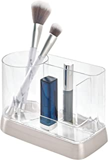 iDesign Hayley Bathroom Sink or Vanity Table, Plastic Organiser 3 Compartments, Makeup Storage for Cosmetics, Clear/Silve...