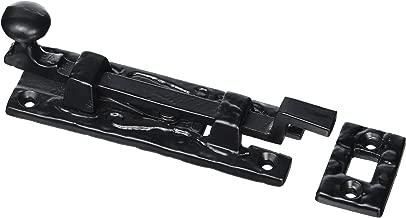 Bulk Hardware BH00771 Antique Cranked Swan Neck Surface Slide Door Bolt, 100 mm (4 inch) - Black