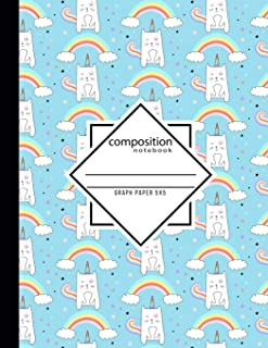 Composition Notebook Graph Paper 5x5: Caticorn 110 Pages / 8.5 x 11 in. Writing Book for School Home Office Student or Teacher (Unicat School Notebooks)