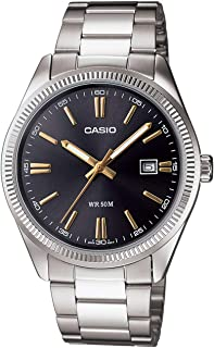Casio Men's Quartz Watch, Analog Display and Stainless Steel Strap Mtp1302D-1A2, Silver Band