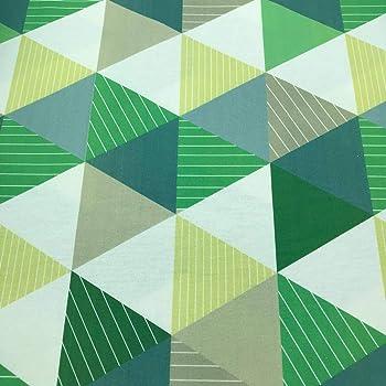 Tela por metros de loneta estampada digital - Half Panamá 100% algodón - Ancho 280 cm - Largo a elección de 50 en 50 cm | Triángulos - Verde, amarillo: Amazon.es: Hogar