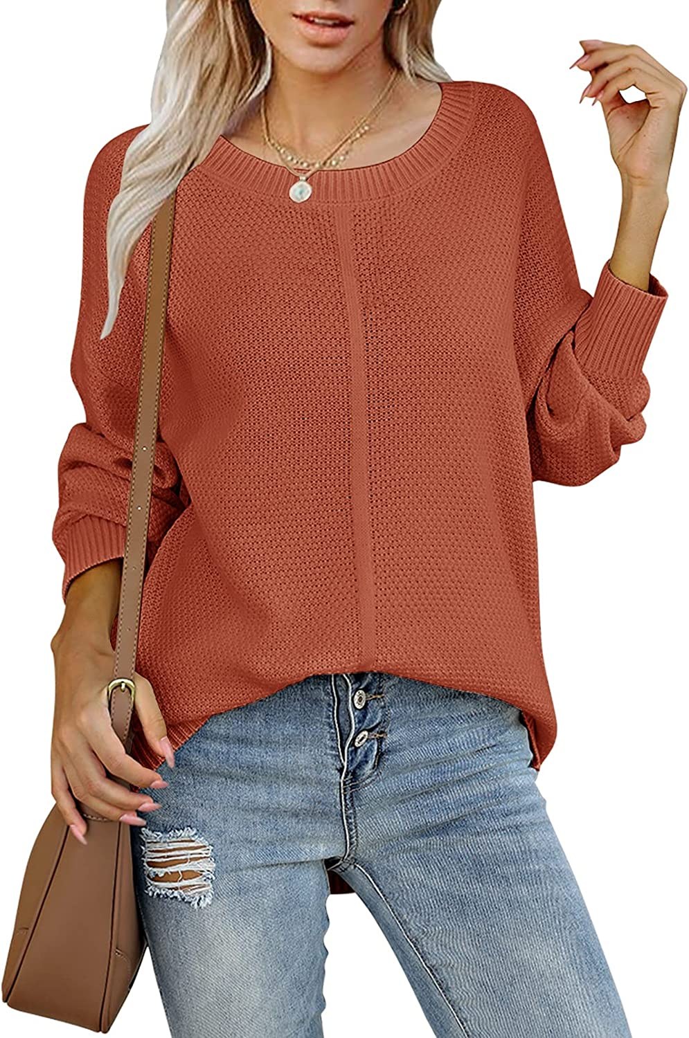 TECREW Womens Long Sleeve Crew Neck Solid Color Sweater Casual Loose Knit Pullover Jumper